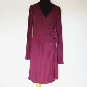 Lush Maroon Ribbed Wrap Side Tie Dress Large
